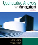 Quantitative Analysis for Management, 12/E Barry Render, Ralph M. Stair, Michael E. Hanna, Trevor S. Hale Solution Manual