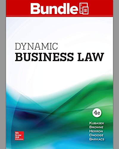 Test Bank For GEN COMBO LL DYNAMIC BUSINESS LAW; CONNECT 4th Edition