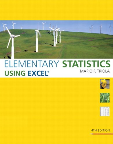 Test Bank For Elementary Statistics Using Excel 4th Edition