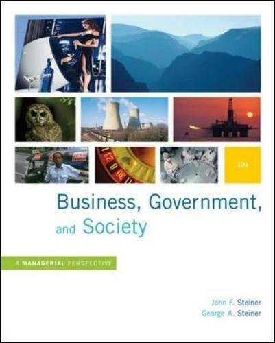 Test Bank For Business, Government and Society: A Managerial Perspective, Text and Cases, 12th Edition 12th Edition