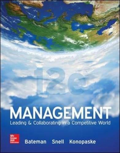 Test Bank For Management: Leading & Collaborating in a Competitive World 12th Edition